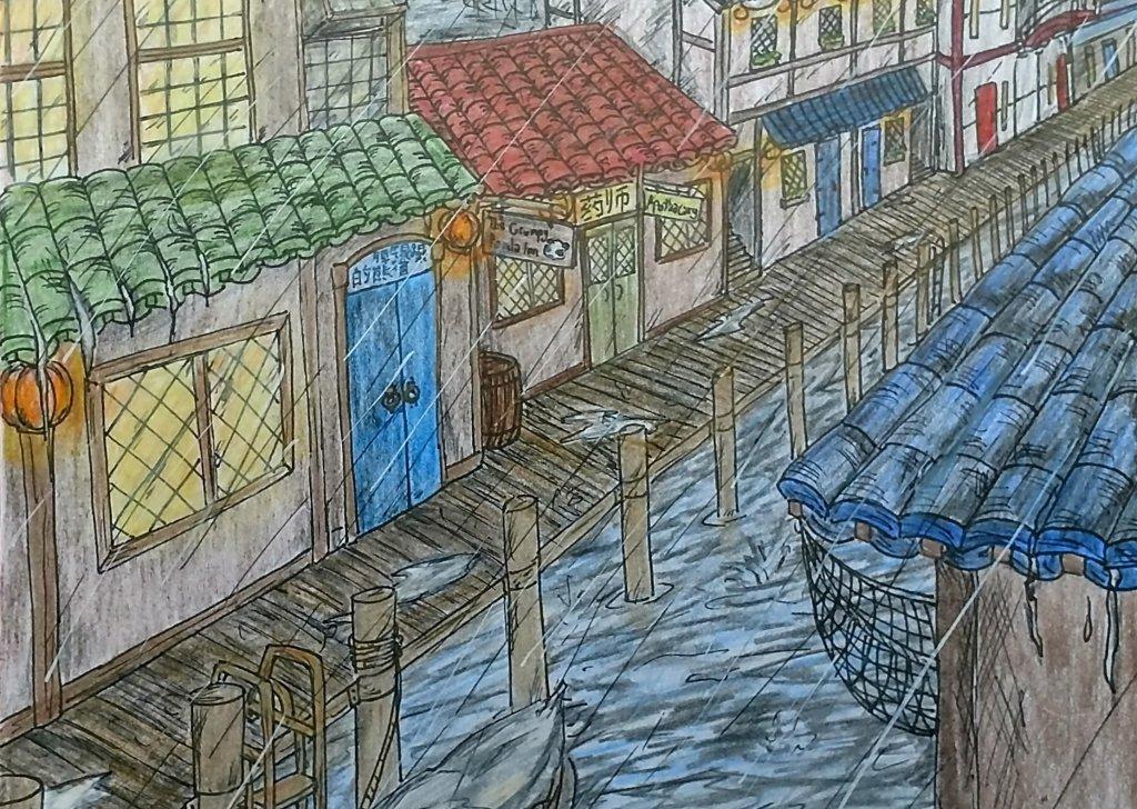 The Grumpy Panda Inn interior during a heavy rain  (Steam and Shadow